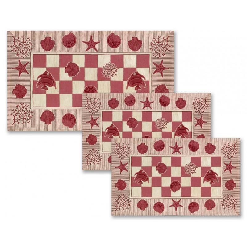 Tris tappeto camera da letto scendiletto 3 tappeti marino mare rosso